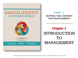 Management 1e - Cengage Learning