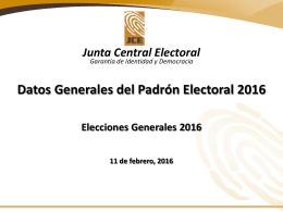 Datos Generales del Padrón Electoral 2016 11-02-2016