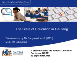 THe State of Education in Gauteng