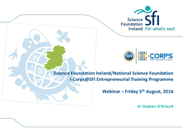 Entrepreneurial Training - Science Foundation Ireland