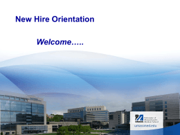 New Hire Orientation - UMass Medical School