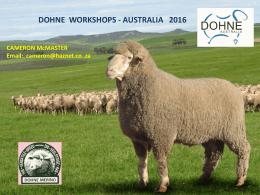 DOHNE WORKSHOPS - AUSTRALIA 2016 CAMERON McMASTER