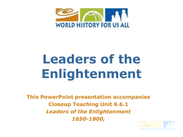 roots of enlightenment - World History for Us All