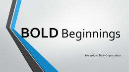 Bold Beginnings - Barton 4th Grade