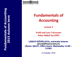Fundamentals of Accounting Lecture 1 Introduction to the course