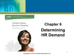 Chapter 8 - Strategic Human Resource Planning Winter 15