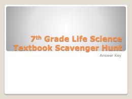 7th Grade Life Science Textbook Scavenger Hunt