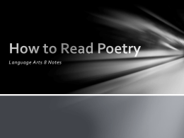 How to Read Poetry