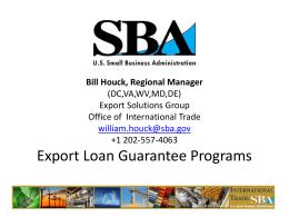 SBDC Export Forum Presentation