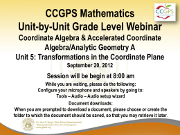 Coordinate Algebra/Analytic Geometry Unit 5 PowerPoint