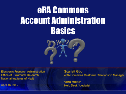 Commons Account Administration Basics