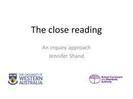 ATAR Literature powerpoint slides - The close reading