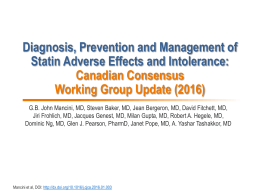 Diagnosis, Prevention and Management of Statin Adverse Effects