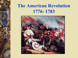 8. Week Six: The American Revolution