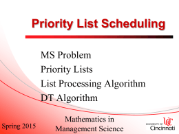 Priority List Scheduling