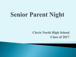 Senior Parent Night - Clovis North Educational Center