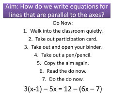 How do we write equations for lines that are parallel to