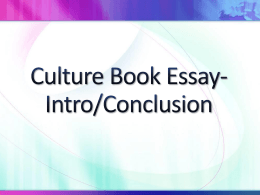 Culture Book Essay
