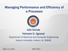 Managing Performance and Efficiency of a