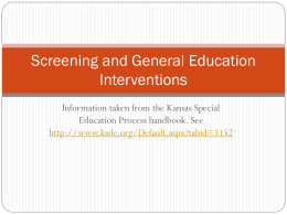 Screening and General Education Interventions