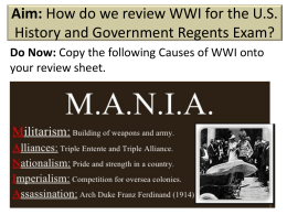REGENTS REVIEW ww1 - John Bowne High School