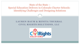 Special Education Delivery - Colorado League of Charter Schools