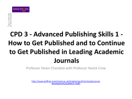 How to Get Published and to Continue to Get Published in Leading
