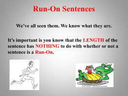 Run-On Sentences Ppt File