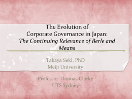 Future of Corporate Governance in Japan