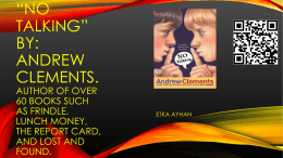 *No Talking* By: Andrew CLEMENTS