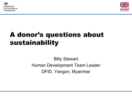 A Donor`s Question about Sustainability