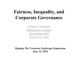 Fairness, Efficiency and Corporate Governance