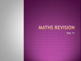 Maths Revision - Worthing High School