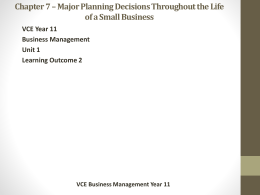 Chapter 6 * The Importance of Business Planning