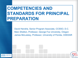 Competencies and Standards for Professional Leadership