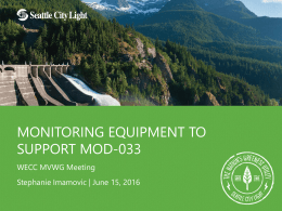 Monitoring Equipment to Support MOD-033