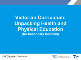 Health and Physical Education - Victorian Curriculum and