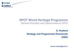 SPOT World Heritage Programme General Principles and