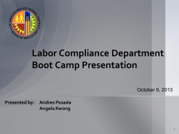 Labor Compliance Fall 2013