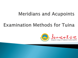 Meridians and Acupoint Examination Methods for Tuina