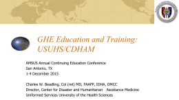 GHE Education and Training: USUHS/CDHAM