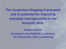 The Vocabulary Mapping Framework and its potential for