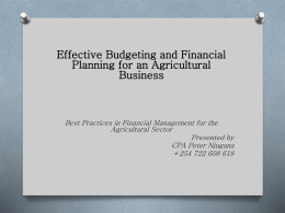Effective Budgeting and Financial Planning for an