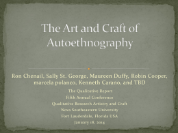 The Art and Craft of Autoethnography - NSUWorks
