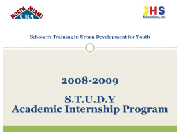Scholarly Training in Urban Development for Youth (STUDY)
