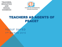 Teachers as Agents of Peace: Yusuf Sayed [PPTX 1015.88KB]