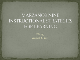 MARZANO*s NINE INSTRUCTIONAL STRATEGIES