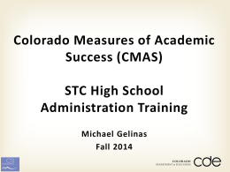 Live and Training sites - Colorado Charter School Institute