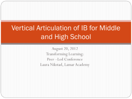 Vertical Articulation of IB