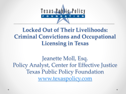 Criminal Convictions and Occupational Licensing in Texas